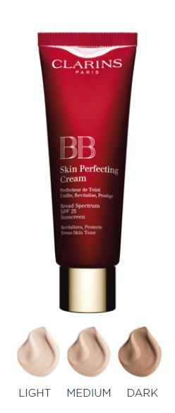 Clarins BB Skin Perfecting Cream SPF 25    Got a sample at the mall last week....OMG loved it....cant wait to go back and get a bottle or two- Sally
