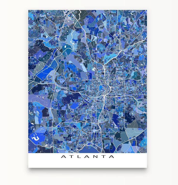 Atlanta map print featuring the city of #Atlanta, #Georgia, USA. #map