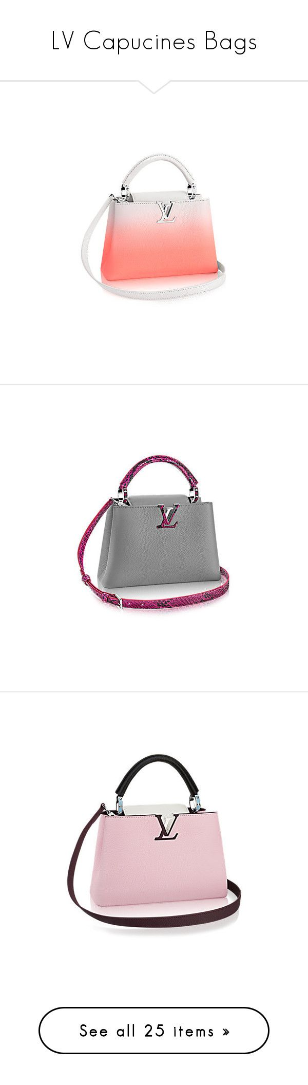 """""""LV Capucines Bags"""" by missy-smallen ❤ liked on Polyvore featuring bags, handbags, shoulder bags, leather shoulder bag, pink cross body purse, pink leather purse, leather crossbody purse, cross-body handbag, pink sequin purse and leather purses"""
