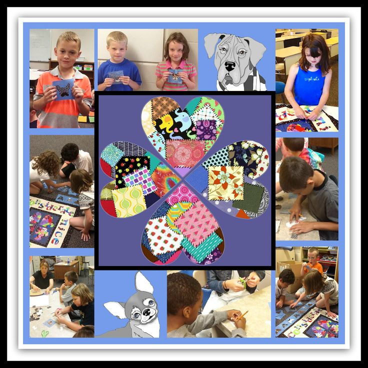 CritterKin Kids working on the quilts.