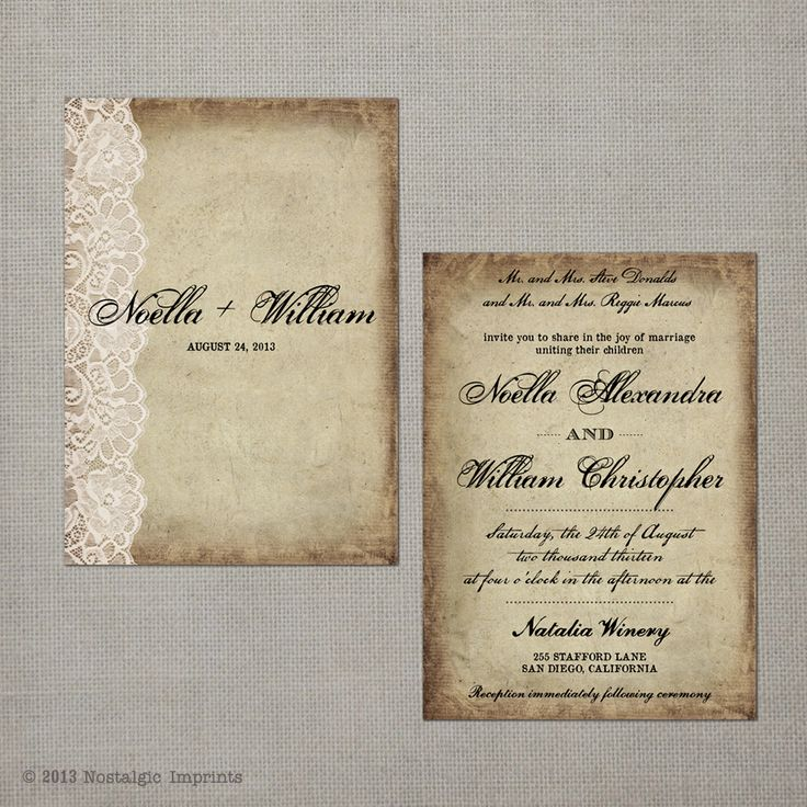 indian wedding invitations california%0A Noella   x  Vintage Wedding Invitation