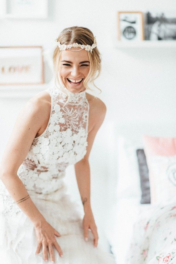 Gorgeous beaded headpiece & flower-patterned gown | Image by Kreativ Wedding
