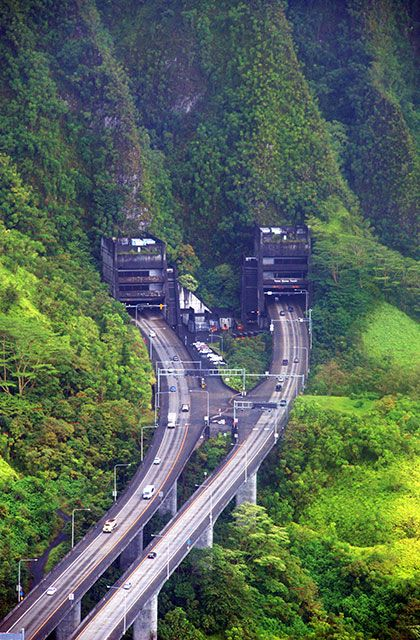 Island of Oahu.  The H3 highway takes travelers from Kaneohe towards Pearl Harbor. It is a very very long tunnel through the Mountain.