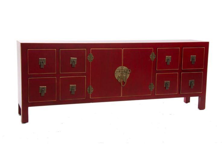Muebles para el Hogar: Muebles Orientales | Mueble de Tv estilo japones u oriental 4 cajones y 2 puertas MB-116476 Rojo                                                                                                                                                                                 Más