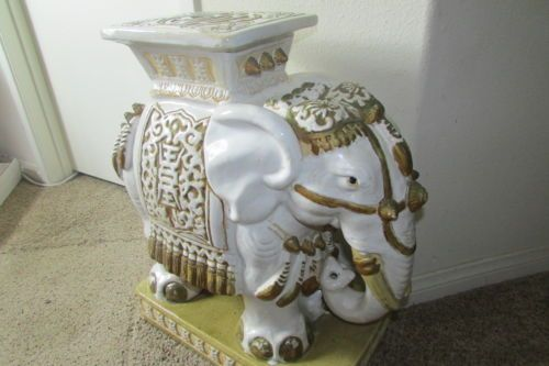 Huge Rare Vintage Ceramic Asian Elephant Plant Stand