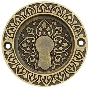 Ornate Flush Door Pull In Antique-By-Hand Finish   House of Antique Hardware