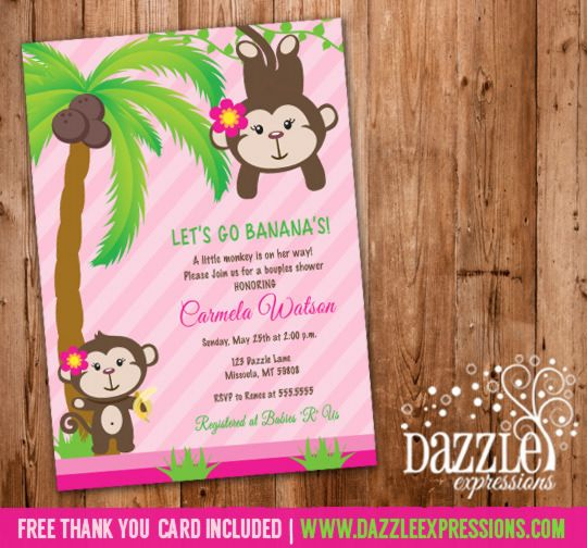 printable girl monkey baby shower invitation pink jungle baby