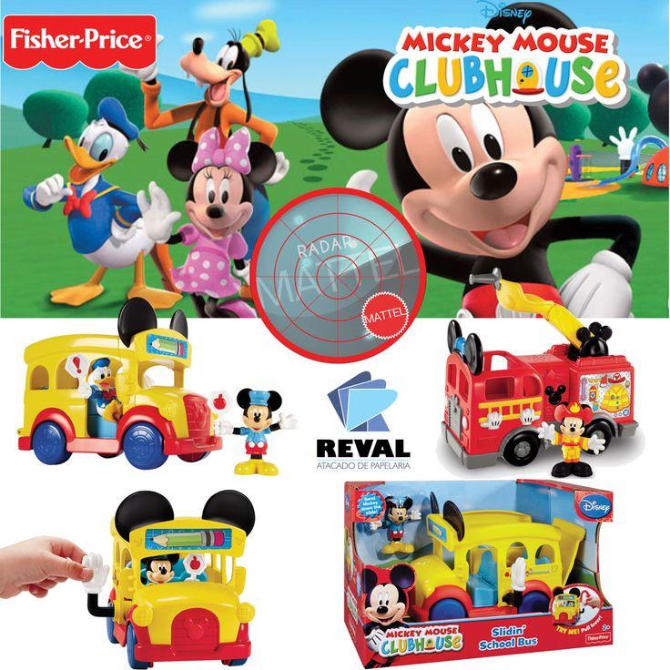 Ônibus Escolar Mickey Clubhouse, de Fisher-Price! Peça pelo código Reval 58177 (CBP00) pelo 0800-701-1811 ou pelos representantes de vendas de sua região e ótimas vendas!  O Mickey vira guarda de trânsito e motorista de ônibus e leva toda a turma para a escola! Inclui figura articulada do Mickey com roupas temáticas. Vire a alavanca para abrir o ônibus e mandar o Mickey pelo escorregador! Rodas livres.  #Reval #Mattel #RadarMattel #Mickey #Disney #FisherPrice #Boneco #Toy #Brinquedo #Kids