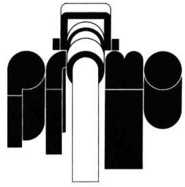 В.Акопов, В.Дьяконов Внешнеторговое объединение «Проммашэнспорт», Графическая форма здесь буквально оживает, динамически пульсирует как в физическом, так и в смысловом пространстве