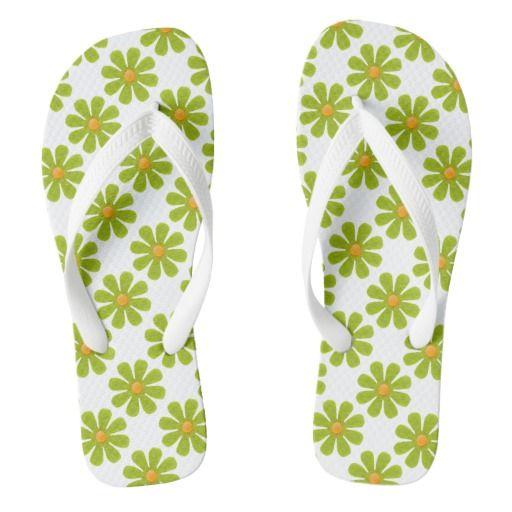 Spring green flowers flip flops by #HomemadeCreations #flowers #FlowerGift