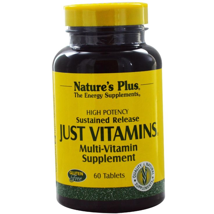 Nature's Plus, Just Vitamins, Sustained Release, Multi-Vitamin Supplement, 60 Tablets