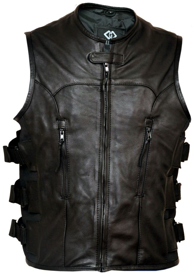Premium Leather Adjustable Motorcycle Vest Waistcoat | Stylees.co.uk…