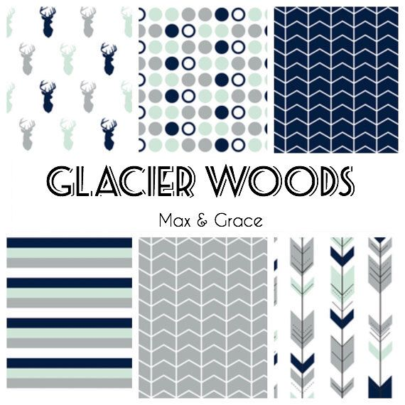 Glacier Woods. Navy, Mint, and Gray Bedding. Woodland Crib Bedding. Boy Crib Bedding. Baby Bedding. Woodland Nursery. Deer Crib Set. by maxandgrace on Etsy https://www.etsy.com/listing/236832758/glacier-woods-navy-mint-and-gray-bedding