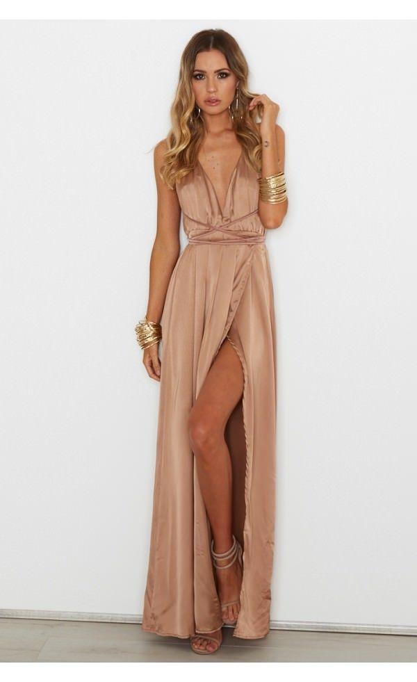 Akela Maxi Dress Bronze - Dresses - Clothing