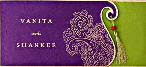 Gorgeous green and purple combination. #indian #wedding #invitation