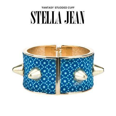 Stella Jean studded cuff. #stellajean #cuff #studds #studded #blue #gold #bracelet #jewellery #Jewlery #shoponline #dolcitrame #dolcitrameshop