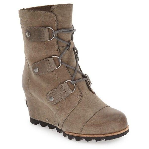 Women's Sorel 'Joan Of Arctic' Waterproof Wedge Boot ($250) ❤ liked on Polyvore featuring shoes, boots, ankle booties, dark fog, wedge heel boots, waterproof boots, sorel, wedge heel ankle booties and sorel boots