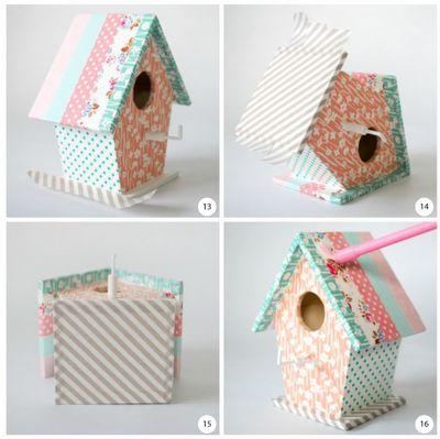 Bird house key hooks by Torie Jayne: Keys Hooks, Tape Birds, Beautiful Keys, Con Washi, Birds House, Birdhouses Keys, Bird Houses, Washi Tape, House Keys