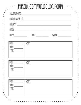 parent teacher communication form template