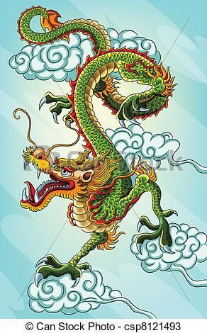 Vector - Chinese Dragon Painting - stock illustration, royalty free illustrations, stock clip art icon, stock clipart icons, logo, line art, EPS picture, pictures, graphic, graphics, drawing, drawings, vector image, artwork, EPS vector art