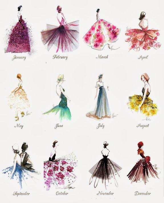 Watercolor Dresses – Illustration Calendar