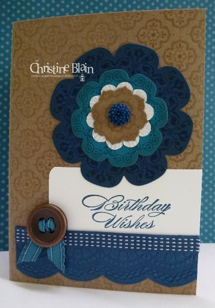 handmade birthday card ... Daydream Medallion cut with Floral Frames Framelits ... masculine look with brown base and mostly blues for the flower medallion ... like this card!! ...Stampin' Up!