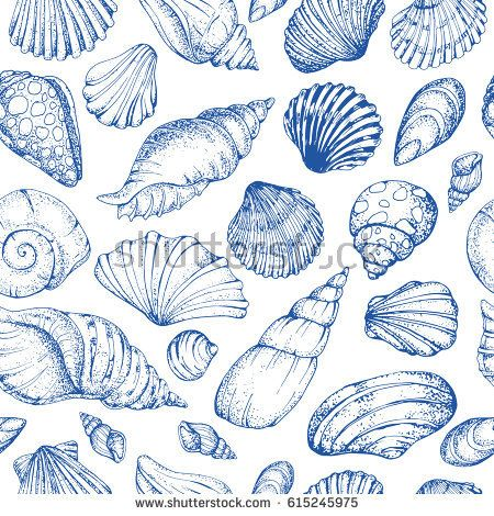 Seamless vector pattern with blue sea shells. Hand drawn vintage sketch elements of engraving. Nautical background. Can use for pack, paper, wallpaper. - Shutterstock Premier