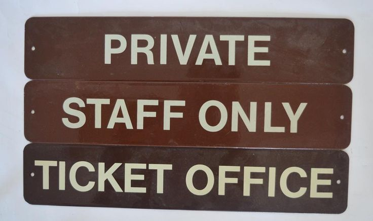 """LOT 636: Three enamel door signs comprising """"Ticket Office"""" """"Staff Only"""" and """"Private"""" each in British Railways (Western Region) cream and brown livery. Each approx. 46 cms wide. Est. £30 - £40. Hammer price: £120. Sold in our #Silver #Jewellery #Watches #Furniture #Porcelain #Collectables #Railwayana and #Locomotive #Auction #October6 #whittonsauctions #Honiton #pin"""