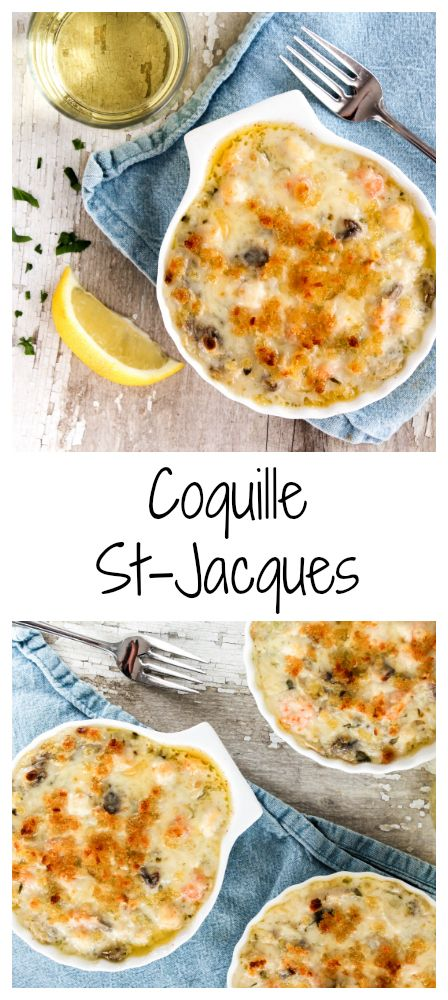 Coquille St-Jacques is a French classic. Delicate scallops, shrimps and mushrooms in a rich luscious gruyere and wine sauce, topped with breadcrumbs and broiled until golden and bubbling, délicieux!