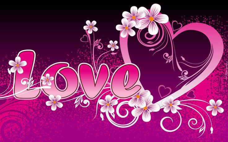 Serce, Kwiaty, Napis