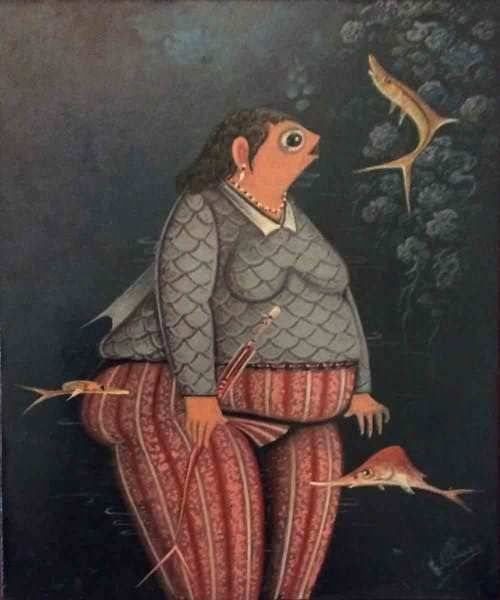"""Andre Blaise 10""""""""x8"""""""" The Lady Fish Singer 2017 Oil on Board"""