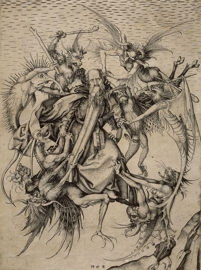 """""""A Tentação de Santo Antônio"""", de Martin Schöngauer, retrata Santo Antônio cercado por demônios"""