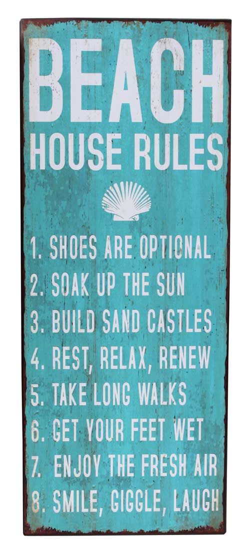Beach House Rules Metal Wall Sign Inspirational Word