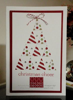 Stampin' & Scrappin' with Stasia: Trendy Triangles - cute idea for a Christmas card and the Season of Style DSP Paper Pack scraps. Stampin' Up!