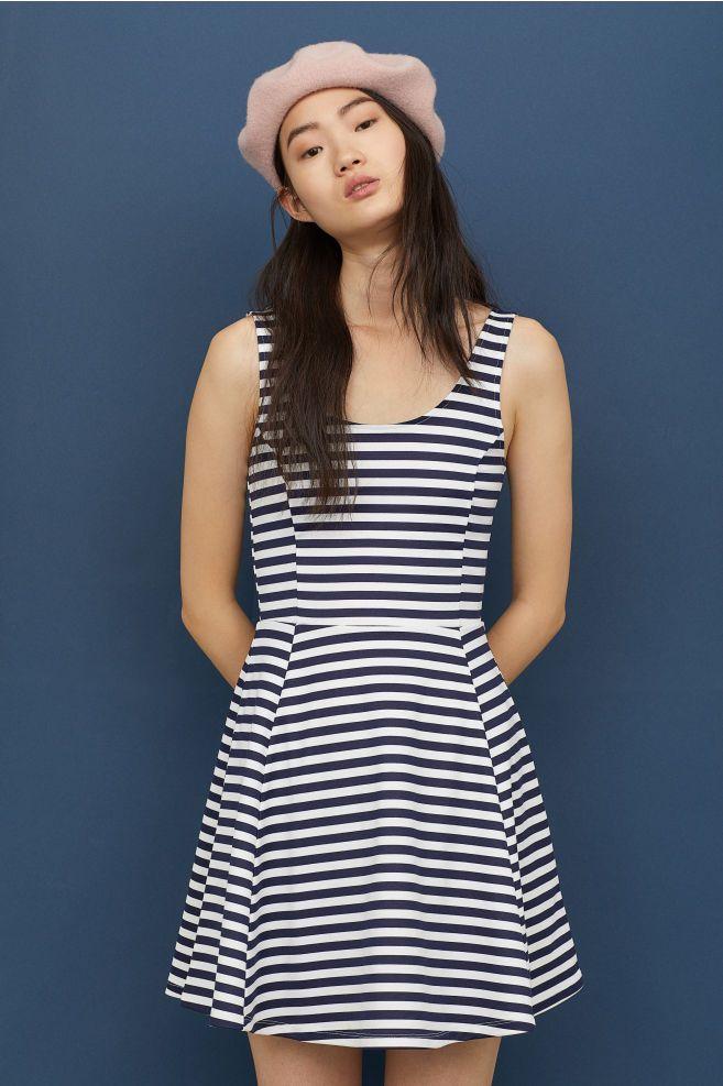 1262ad12281ba Sleeveless jersey dress - Dark blue White striped - Ladies