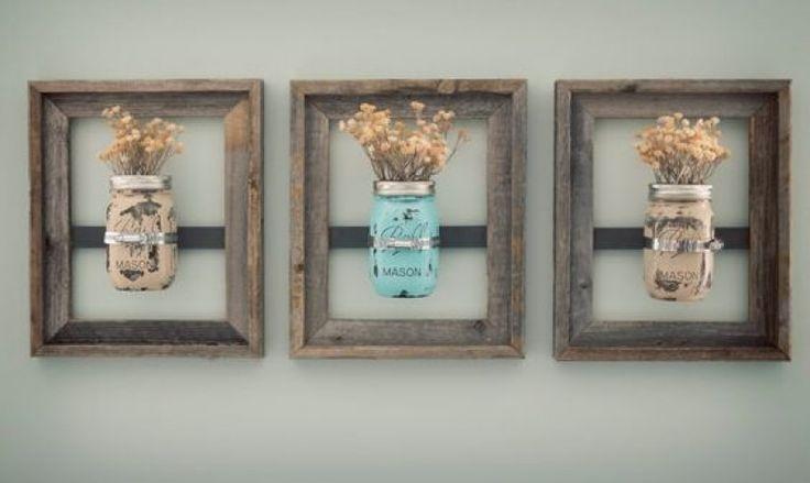 Rustic Bathroom Wall Decor Mason Jar Wall Vase (painted) With Reclaimed Barn Wood Frame