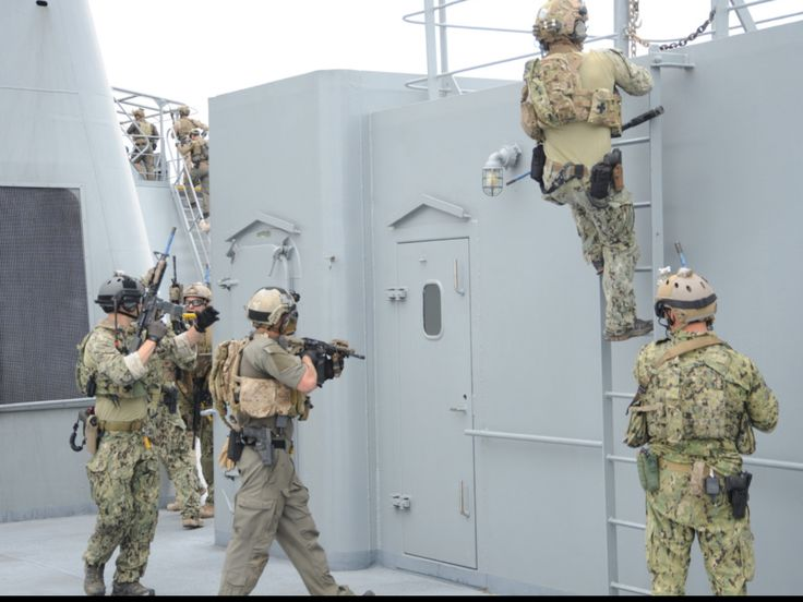 Sailors and SEALs from a West Coast based Naval Special Warfare Group ONE practice a visit, board, search, seizure (VBSS) drill on board the Military Sealift Command large, medium-speed roll-on/roll-off ship USNS Bob Hope (T-AKR 300). CORONADO, Calif. April 23, 2015.