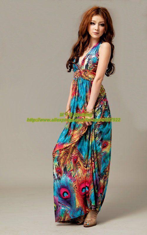Vestido largo 2015 nueva moda bohemia del pavo real étnico Vintage diseño de la cola Color azul cabestro vestido Maxi del verano MYB9447 en Vestidos de Moda y Complementos Mujer en AliExpress.com | Alibaba Group