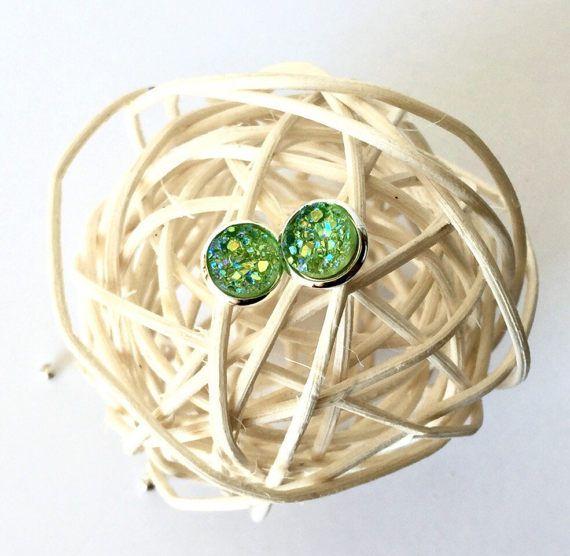 Green Druzy Earrings Green Druzy Jewelry by AprilHyltonDesigns