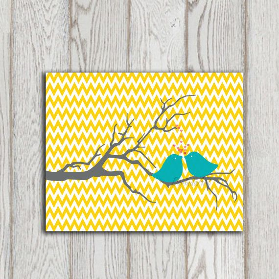 Nursery print Yellow Chevron printable Turquoise love birds Grey Tree Valentine Poster Little girl bedroom art prints Baby girl decor prints...