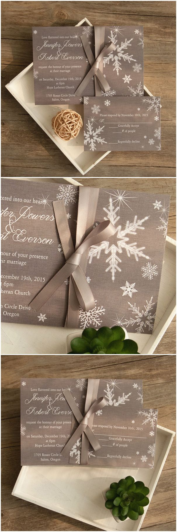 elegant snowflake inspired gray winter wedding invitations with ribbon tied