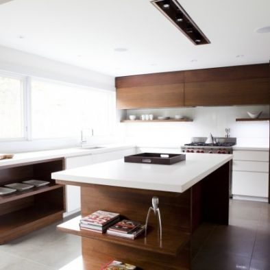 Modern Kitchen Minimalist Kitchen timber cabinetry and white benchtop