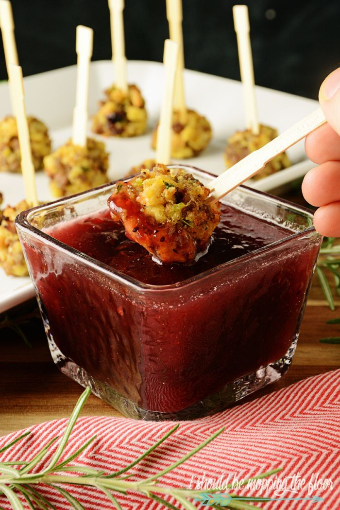 Sausage and Stuffing Balls with Cranberry Dipping Sauce - great recipe for using up leftovers; the perfect #holiday #appetizer : Ishouldbemoppingthefloor
