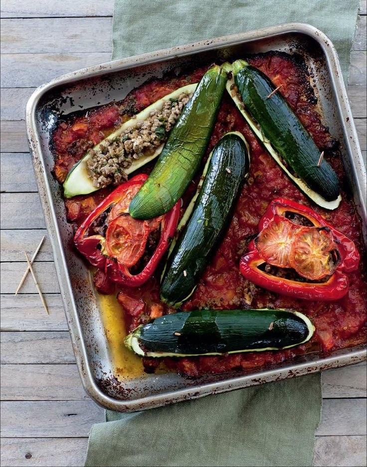 Zucchini and capsicum with spiced lamb stuffing by Ian Thorpe from Cook for Your Life | Cooked