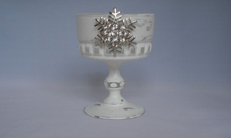 White Vintage Glass Candle Holder Table Decoration Xmas Glitter Christmas Centre Piece Trinket Dish Snowflake Decoration Christmas Gift by LouLaBelleG on Etsy