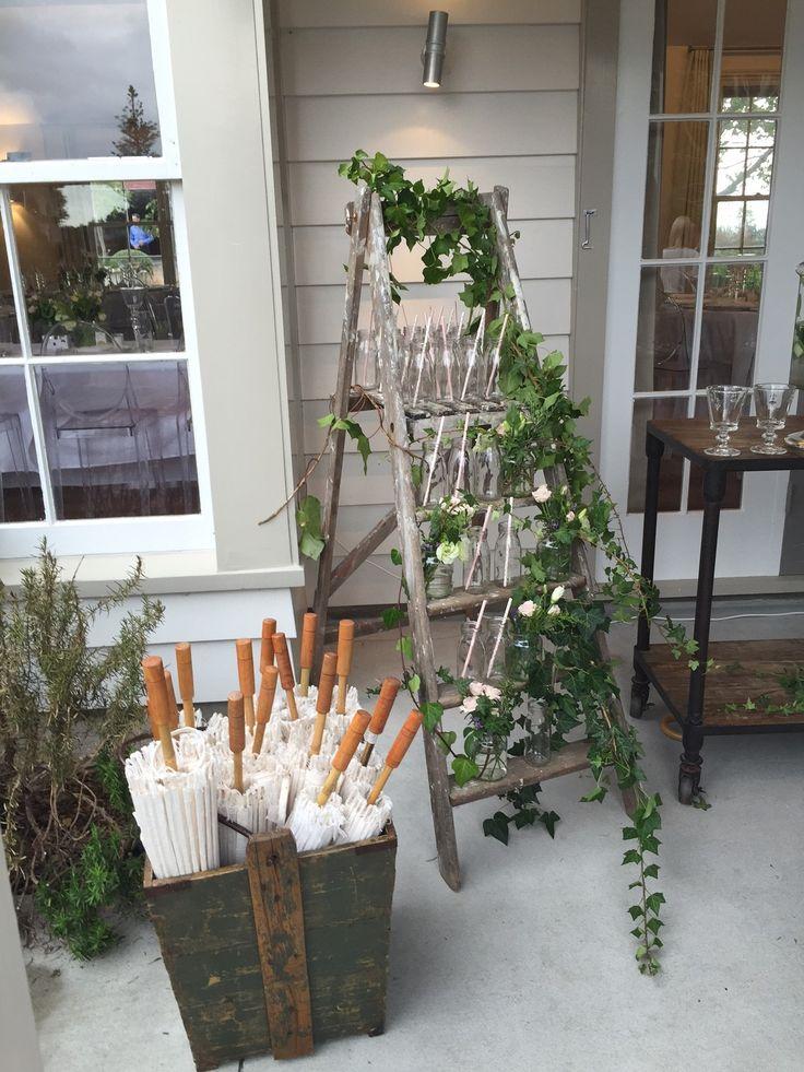 Milk bottles on the ladder for non alcoholic beverages