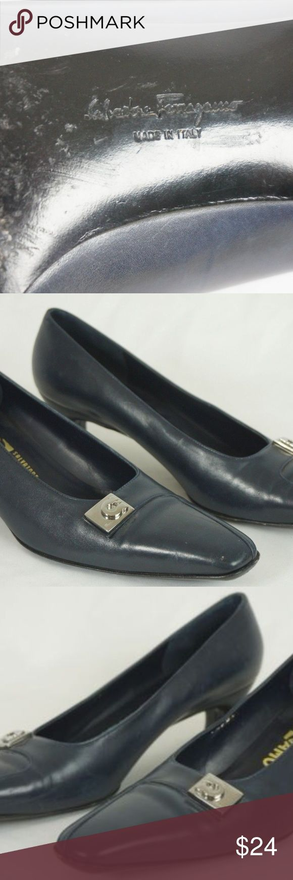 """Salvatore Ferragamo Navy 8 N Kitten Heels Salvatore Ferragamo ladies shoes Size 8 narrow      (inside of shoe stamped 8 2A, width at ball is 3"""") Navy blue 1 5/8"""" kitten heel Scuffing and wear on outsoles and toes Structurally very sound Salvatore Ferragamo Shoes Heels"""