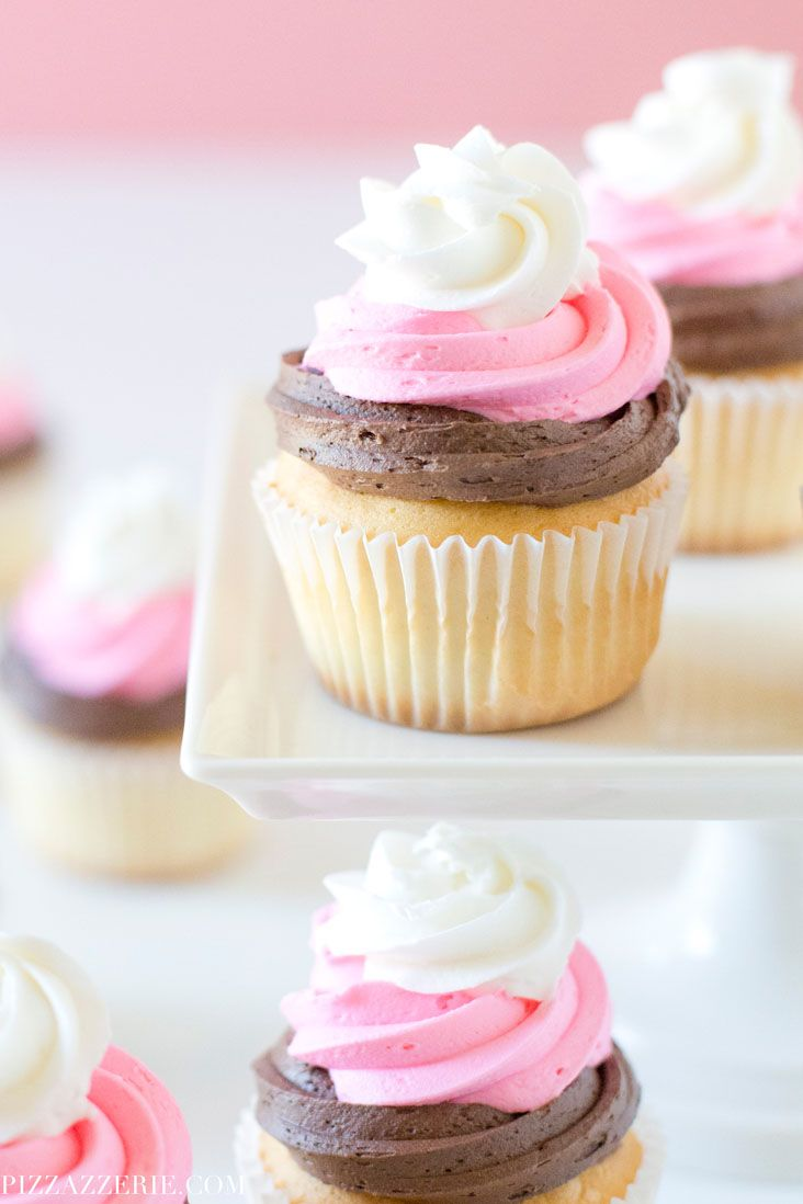 Strawberry, Vanilla, and Chocolate Neapolitcan Cupcakes! by @Pizzazzerie for @aptsforrent