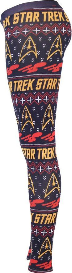 Amazon.com: Star Trek Ugly Christmas Pattern Navy Leggings (Juniors Large): Clothing