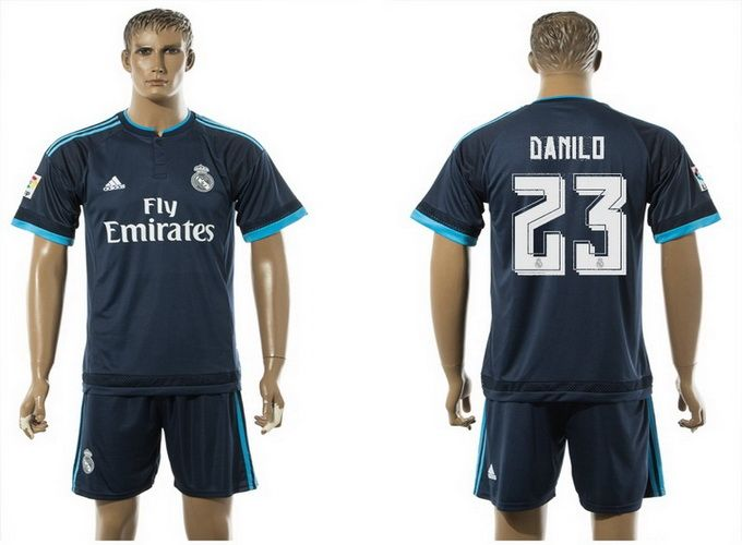 2015-2016 Real Madrid 23 DANILO UCL Away Blue Third Soccer Jersey